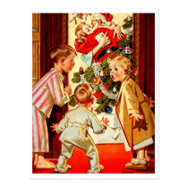 Kids find mom kissing a santa, funny vintage postcard