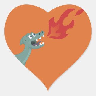 Kids Fire-Breathing Dinosaur Art by Jeff Nevins Heart Sticker