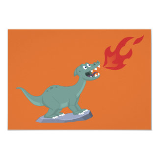 "Kids Fire-Breathing Dinosaur Art by Jeff Nevins 3.5"" X 5"" Invitation Card"