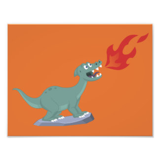 Kids Fire-Breathing Dinosaur Art by Jeff Nevins Photo Print