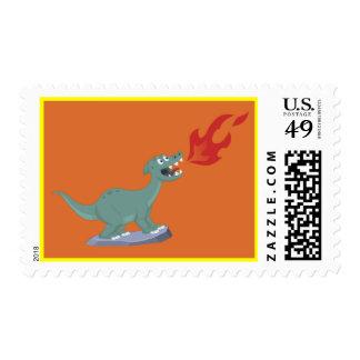 Kids Fire-Breathing Dinosaur Art by Jeff Nevins Stamp