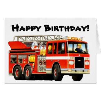 Kids Fire Truck Birthday Card