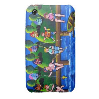 Kids Fishing Fun Folk Art Phone Case Case-Mate iPhone 3 Cases