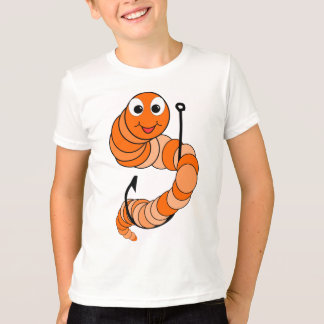 Kids Fishing T-Shirt - Cartoon Worm On Hook