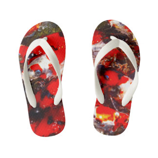 Kid's Flip-flops displaying red, wild koi fish Kid's Flip Flops