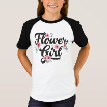 Kids Flower Girl Floral Bridesmaid Gift T-Shirt