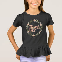 Kids Flower Girl Wreath Bridesmaid Gift T-Shirt