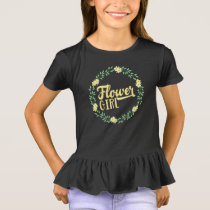 Kids Flower Girl Yellow Wreath Bridesmaid Gift T-Shirt