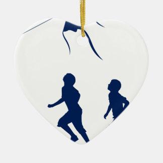 Kids flying a kite. ceramic ornament