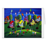 Kids Flying Kites Folk Art Cards