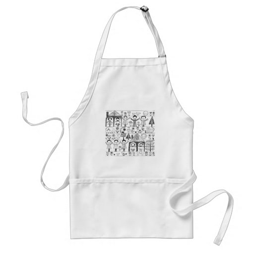 Kid's Folk Art Drawing of Children and Animals Aprons