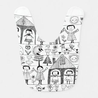Kid's Folk Art Drawing of Children and Animals Bib