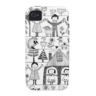 Kid's Folk Art Drawing of Children and Animals Case-Mate iPhone 4 Covers