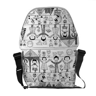 Kid's Folk Art Drawing of Children and Animals Courier Bags