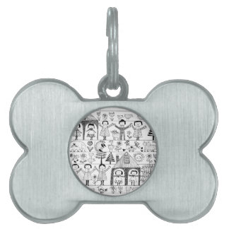 Kid's Folk Art Drawing of Children and Animals Pet Tag