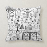 Kid's Folk Art Drawing of Children and Animals Throw Pillows