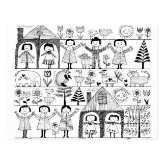 Kid's Folk Art Drawing of Children and Animals Postcard