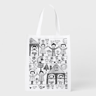 Kid's Folk Art Drawing of Children and Animals Reusable Grocery Bag