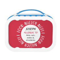 Kids Food Allergy Alert Personalized Red Lunch Box