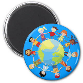 Kids for world peace 2 inch round magnet