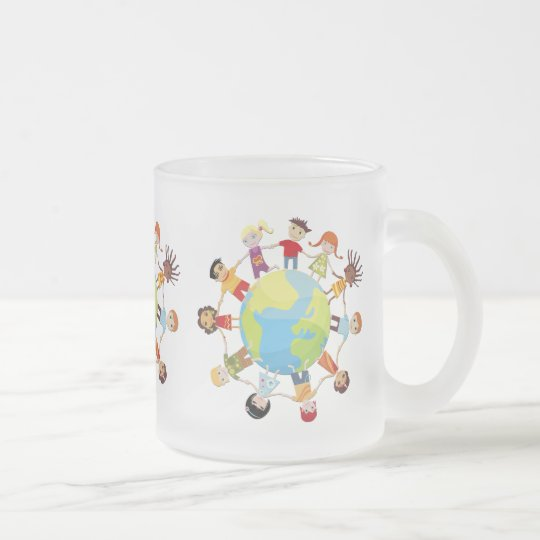 Kids for world peace frosted glass coffee mug