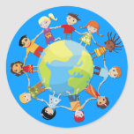 Kids for world peace round sticker
