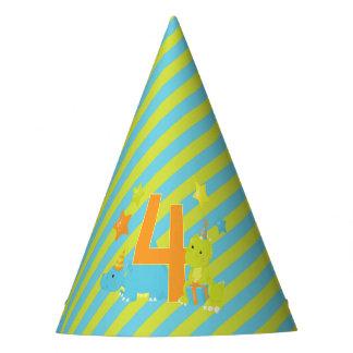 Kid's Fourth Birthday   Dinosaur T-Rex Stegosaurus Party Hat