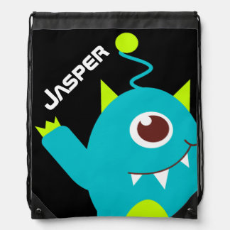 Kids friendly alien teal green name drawstring bag
