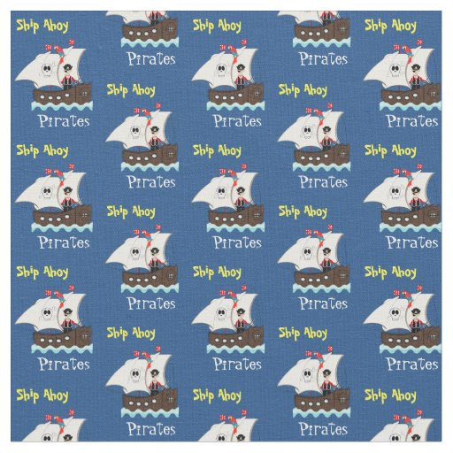 Kids fun pirate ship themed whimsy print fabric zazzle for Kids pirate fabric