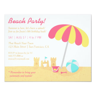 Kids Fun Sandcastles Beach Birthday Party 4.25x5.5 Paper Invitation Card