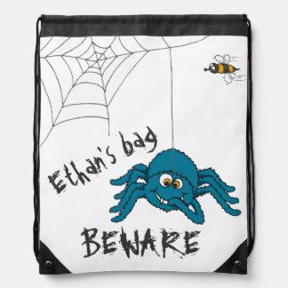 Kids fun trick spider personalized drawstring bag