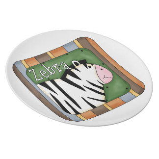 Kids fun Zebra Decorative Plate