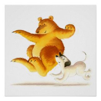 Kids Funny Bear and Cute Puppy Dog Poster