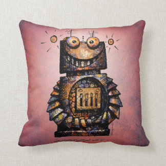 Kid's Funny Little Steampunk Robot Throw Pillow