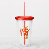Kids Funny Orange Robot Personalized Boys Acrylic Tumbler
