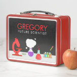 """Kids Future Scientist Metal Lunch Box<br><div class=""""desc"""">The Kids Future Scientist Metal Lunch Box designed by Enchantfancy Design Company is the perfect gift for the child in your life who loves science. This design features a science lab setting complete with things your child might need for a cool science experiment including a microscope, petri dish, beakers and...</div>"""