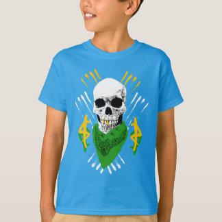 Kids Gangster Skull Wearing a Green Bandanna T-Shirt