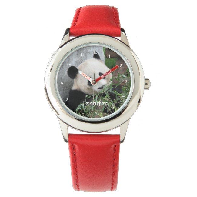 Kids Giant Panda Watch, Red Strap