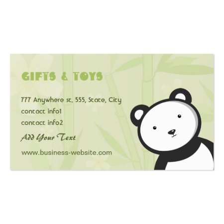 Cute Panda and Green Bamboo Stalks Baby and Kids Toys Gift Shop Business Cards