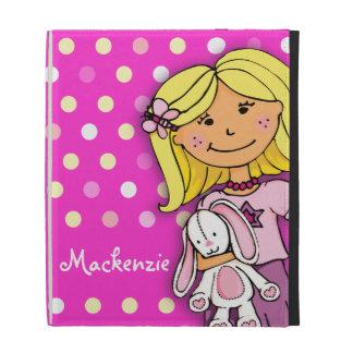 Kids girl long name pink polka dot ipad folio case