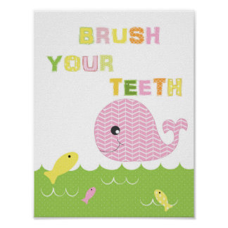 Kids girls bathroom art brush your teeth poster