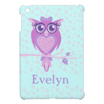 Kids girls cute owl purple & aqua ipad mini cover