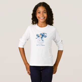 Kid's Girls Let It Snow Snowman Holiday Top