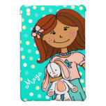 Kids girls name aqua dark hair polka dot ipad mini iPad mini cases