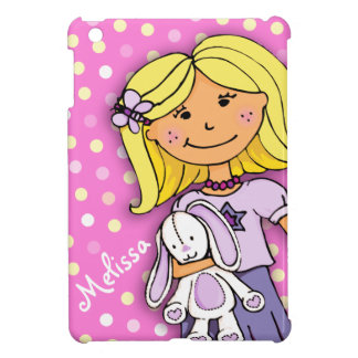 Kids girls name lilac pink polka dot ipad mini iPad mini cover