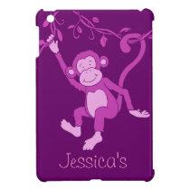 Kids girls name purple monkey ipad mini case