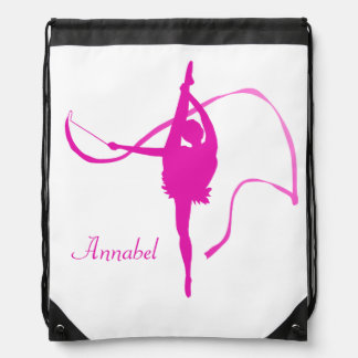 Kids girls named gymnast pink drawstring bag