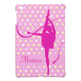 Kids girls named gymnast polka dot pink ipad mini iPad mini case