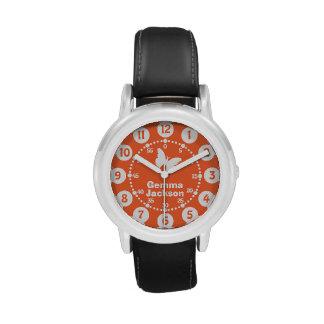 Kids girls orange & white full name wrist watch