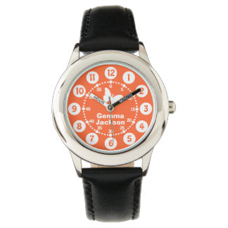 Kids girls orange & white full name wrist watch